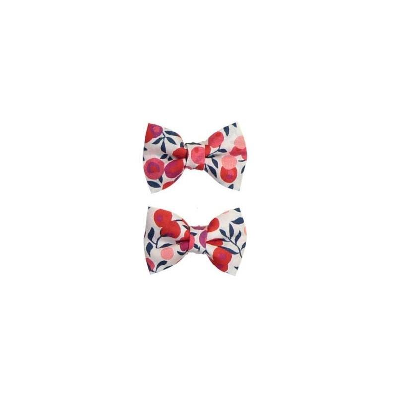 Barrettes mini papillon - Liberty Wiltshire rouge (paire)