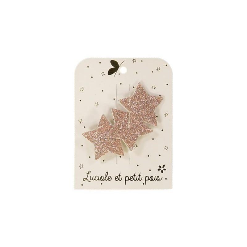 Barrette trois étoiles - Glitter rose