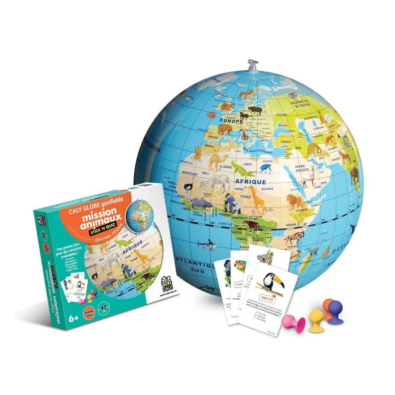Globe gonflable Mission animaux Stick & Quiz