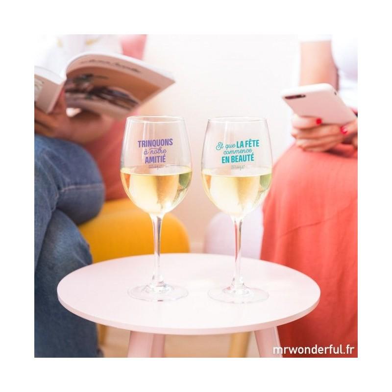 Set de 2 verres à vin - Trinquons à notre amitié
