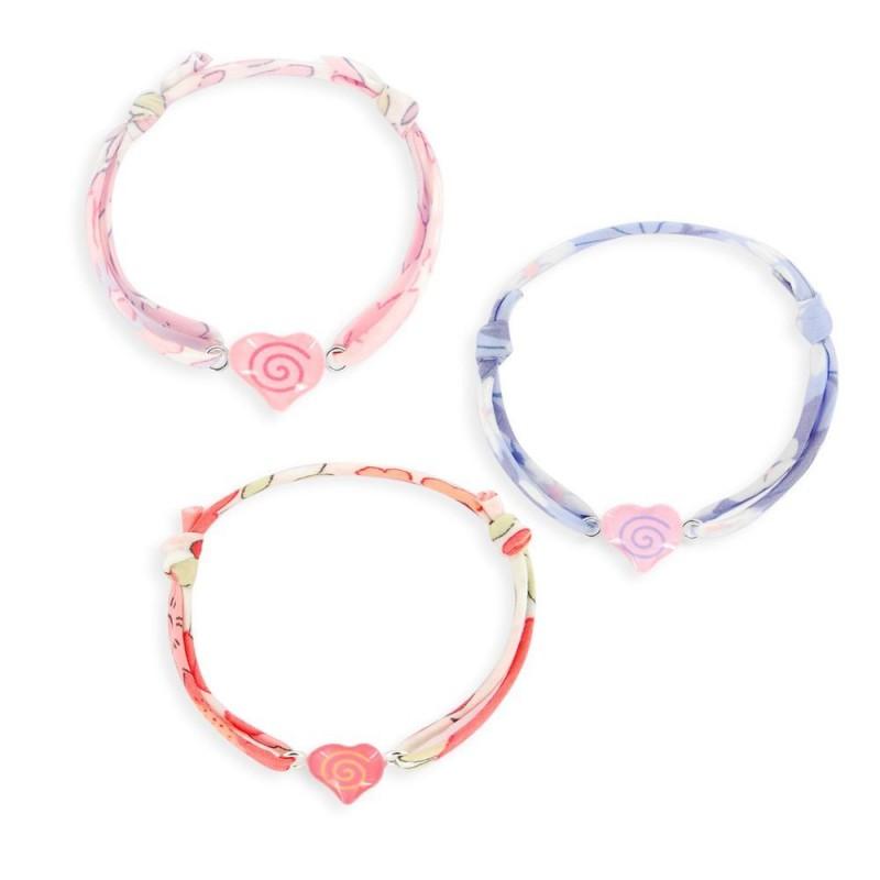 Bracelet ruban liberty coeurs couleurs