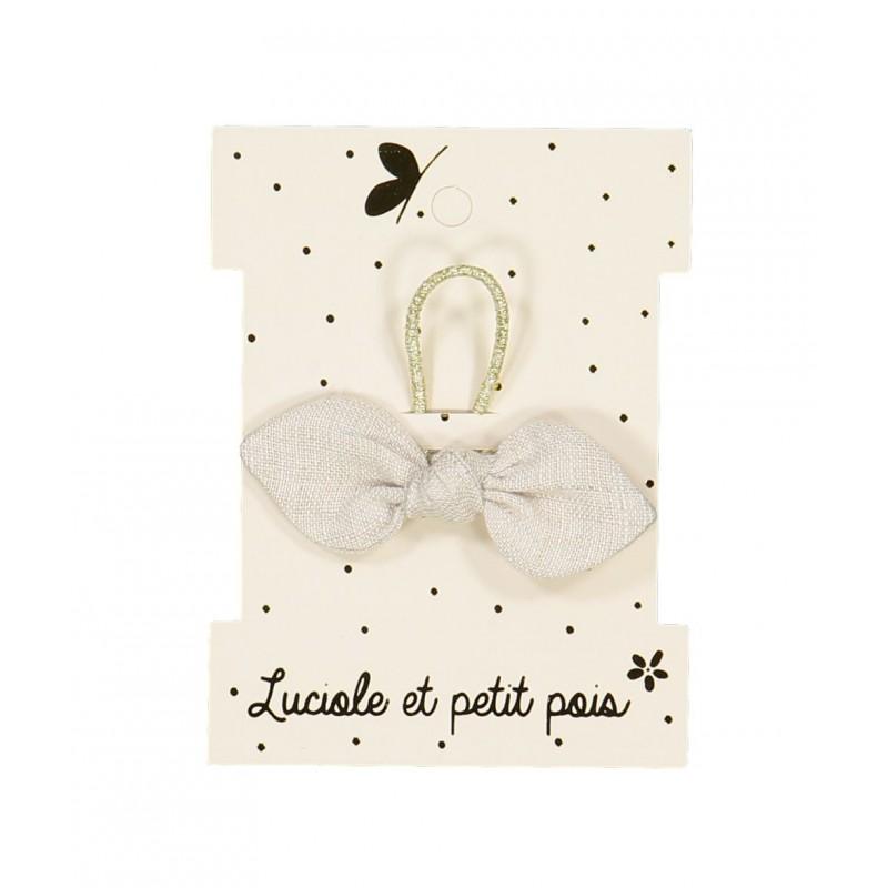 Élastique mini noeud lapin - Lin taupe