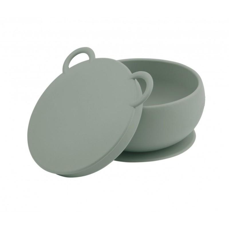 Minikoioi - Bol antidérapant avec couvercle Vert d'eau