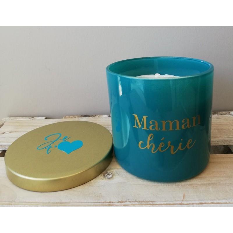 Bougie parfumée turquoise - Maman chérie