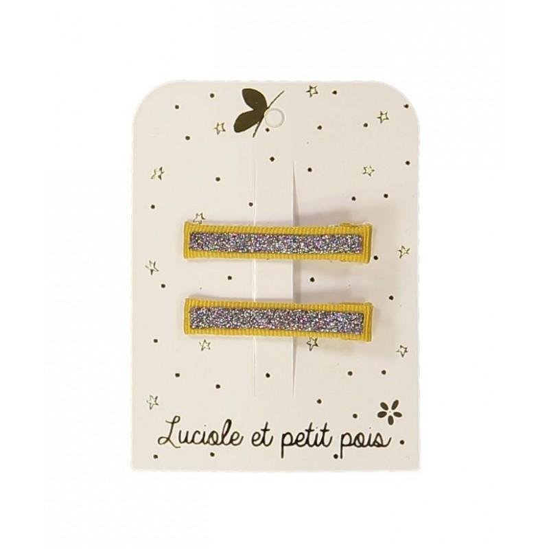 Barrettes pinces croco - Moutarde (paire)