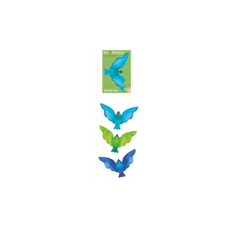 Set de 3 oiseaux équilibristes bleus